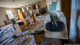 κατεστραμμένη βιβλιοθήκη στο Ντόνετσκ