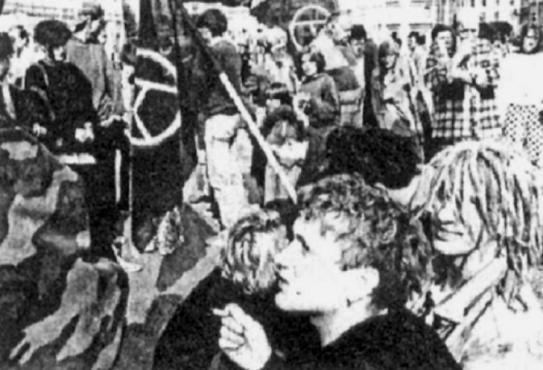 Αντιπολεμική διαδήλωση που οργανώθηκε από τη ZAPO Ζάγκρεμπ, 19 Ιουνίου 1991.